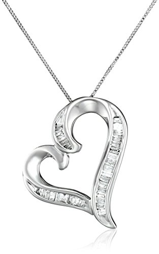 10K White Gold And Diamond Heart Pendant Necklace (1/4 Cttw, I-J Color, I3 Clarity), 18""