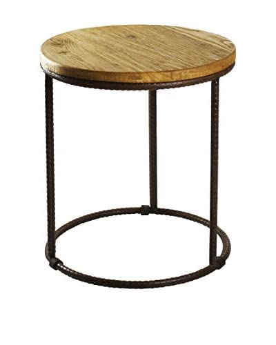 Zentique Rustique Round End Table, Brown