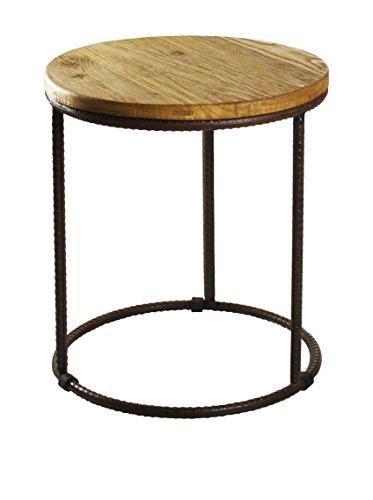 Zentique Rustique Round End Table, Brown