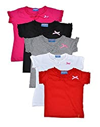 Clever baby girls Tshirt(ZCGT-004-PC5-05-12-13Yrs_Multi_12-13 Years)