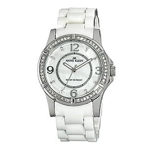 Anne Klein Women's 109589MPWT Swarovski Crystal Accented Silver-Tone White Ceramic Watch
