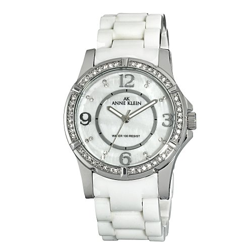 AK Anne Klein Women's 109589MPWT Swarovski Crystal Accented Silver-Tone White Ceramic Watch