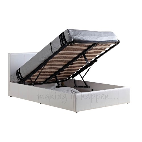 WorldStores Berlin Faux Leather Ottoman Bed Frame in White - 5FT King Size Bed Frame - White Faux Leather Finish - Contemporary Bed Base - Sprung Slatted Base - Gas Lift Struts