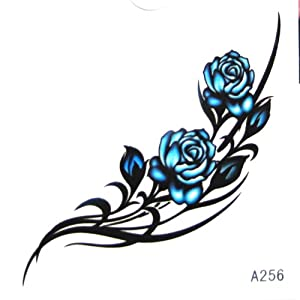 Kinghorse Waterproof Temporary Tattoo That Look Real For Women Sexy Blue Roses Amazon Co Uk