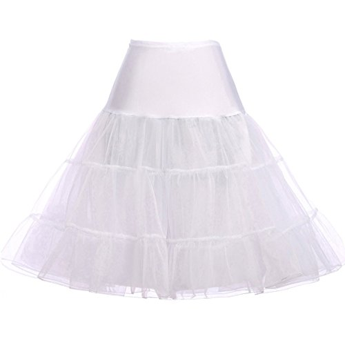 Knee Length Voile Petticoat for Cocktail Party Dress (XL,White)
