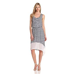 Seven7 Knits Women's Hi Low Dress, Twilight/White, Medium