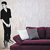Iconic Stickers - Justin Bieber Full Size Celebrity Wall Sticker Decoration Home Gift Graphic C6 - As Pictured - Size: Small - Colour: Burgundy