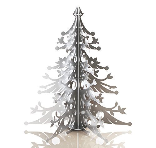 Treeform - Eco-Friendly Cardboard Christmas Tree in Metallic Silver, 3.5 Ft Tall