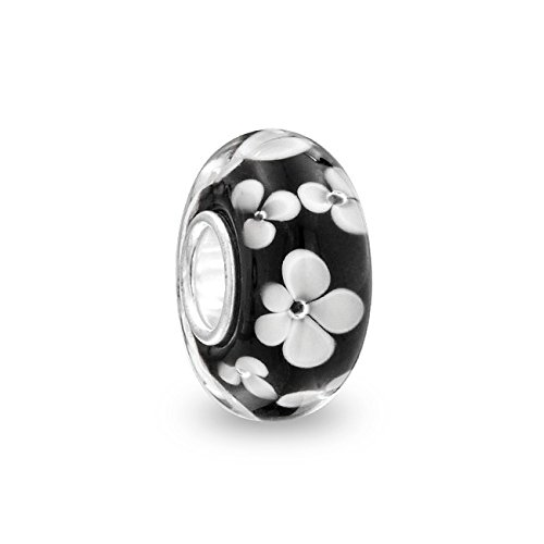 Everbling Clover Murano Glass 925 Sterling Silver Charm Bead Fit European Pandora Charms Bracelet