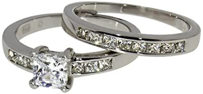White Gold Plated 1ct. Princess Cut Simulated Diamond Solitaire Eternity Wedding Engagement 2pc Ladies Rings Set