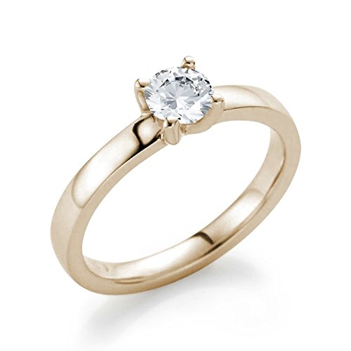 21DIAMONDS Charlie 21PREMIUM White Topaz Brilliant Cut Women's Ring 14 Carat 585 Red Gold Engagement Rings