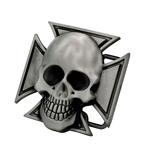 Buckle Rage Adult Unisex Maltese Iron Cross & Skull Novelty Belt Buckle Matte