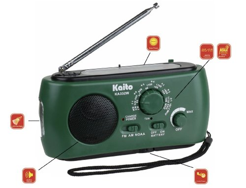 Kaito Ka332W Portable Hand Crank Solar Am/Fm Noaa Weather Radio With Cell Phone Charger & 3-Led Flashlight (Green)