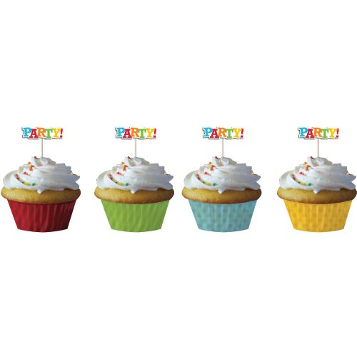 Birthday Stripes Baking Cups and Picks (12ct)