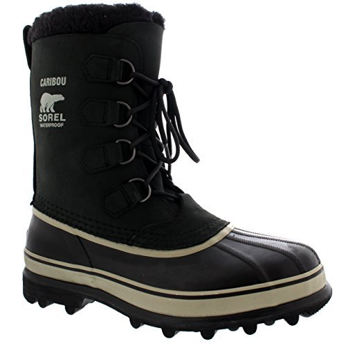 Mens Sorel Caribou Mid Calf Snow Winter Rain Warm Fur Lined Suede Boot - Black/Cream - 11 by SOREL