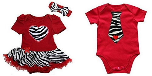 Cute 3 Piece Matching Zebra Print Twin Boy Girl Valentine's Day Outfits