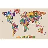 """World Map - Text 34""""x22"""" Art Print Poster"""