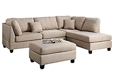 Modern Contemporary Polyfiber Fabric Sectional Sofa and Ottoman Set (Beige / Grey / Brown)