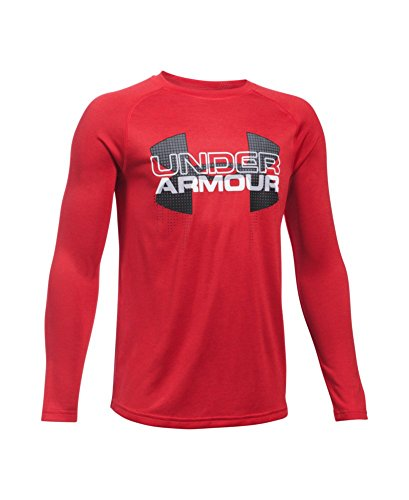 Under Armour Boys' UA Tech Big Logo Hybrid Long Sleeve T-Shirt Youth Small Red