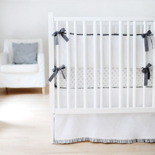 New Arrivals Sweet and Simple Crib Bedding Set, White/Gray, 3 Piece