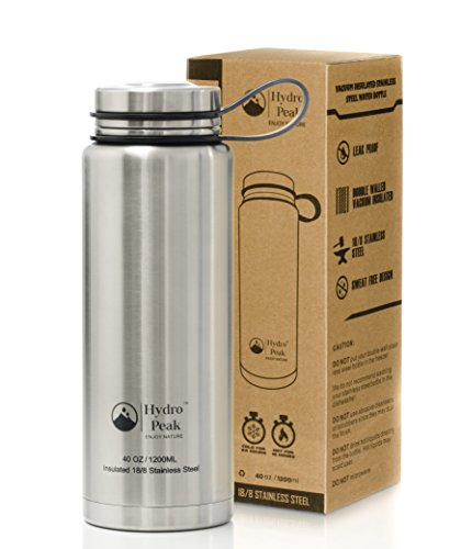 Hydro Peak 40oz Vacuum Double Wall, Stainless Steel Water Bottle with Insulated Stainless Lid, Keeps Hot to 12, Cold to 24 Hours, Perfect for Work, Office, School, Travel, Workouts & Sports (Aluminium Water Jug compare prices)