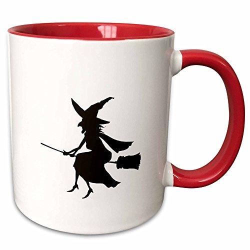 3dRose PS Halloween - Witch on Broom Halloween Silhouette - 11oz Two-Tone Red Mug (mug_164577_5)