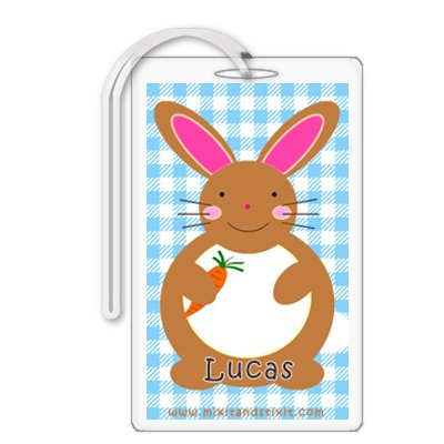 Personalized Baby Boy Blue Gingham Diaper Bag Tag
