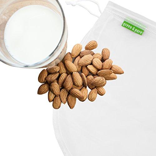 Image of GREEN & PURE Nussmilchbeutel aus 100% Nylon für vegane Nussmilch & Mandelmilch, Feinmaschiges Filtertuch Seiher Passiertuch I 2 Jahre Zufriedenheitsgarantie