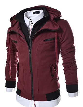 Low Price TheLees Men's Slim Fit Hood Cotton Jacket