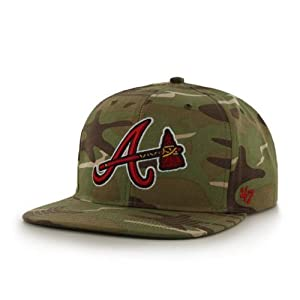 Atlanta Braves Camouflage Air Drop Leather Strap Adjustable Strapback Hat Cap by