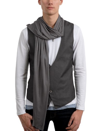 9XIS Mens StunningDesign Casual Scarf Vest GRAY XL (9MH006)