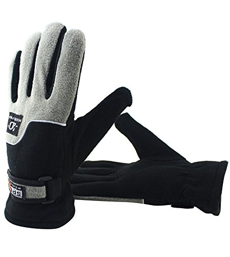 Albabara Men's TC Fleece Warm Winter Gloves,Gray/Black