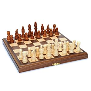 Wood Folding Chess Set with Beveled Edges - 11.5 inch Walnut Board