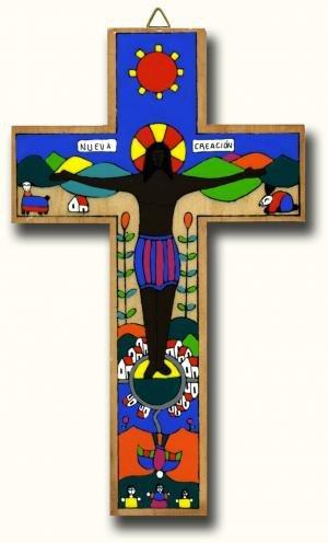 Nuova creazione Cross. Latin American Cross. wood.Wooden pendente a forma di crocifisso con crocifisso 25 cm