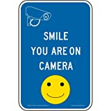 ComplianceSigns Reflective Aluminum Security Camera Sign, 18 x 12 in. with English, Blue