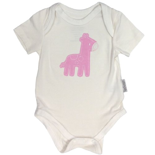 Silkberry Baby Bamboo Short Sleeve Bodysuit Pink Giraffe 0-3 Mo