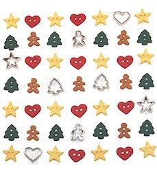Pack of Novelty Dress it up Buttons, Holiday Collection, Itty Bitty Cut out Cookies, for Sewing, Scrapbooking, Embelishments, Crafts, Knitting, from Dress It Up
