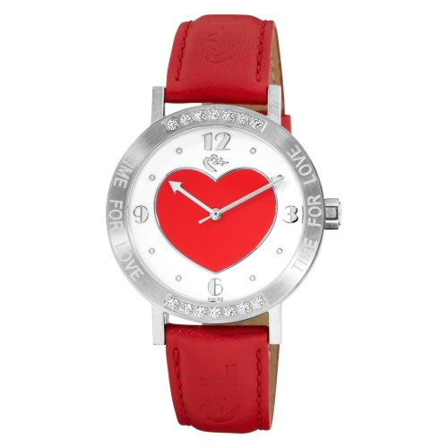Love Peace and Hope Women's LW125 Time for Love Red Crystal Heart Watch