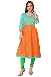 Aamii Women Block Printed Anarkali Kurta (Aamii-841-S, Orange, Green, Small)
