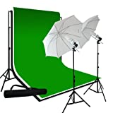 LimoStudio Photography 10'x10' Muslin Black White Green Chromakey Backdrop Support Kit 700W 33
