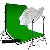 LimoStudio Photography 10'x10' Muslin Black White Green Chromakey Backdrop Support Kit 700W 33