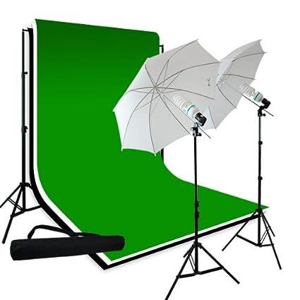 Amazon.com : LimoStudio Photography 10'x10' Muslin Black White Green Chromakey Backdrop Support Kit 700W 33
