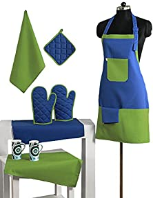 buy 2 Color Cotton Chef'S Apron Set With Pot Holder, Oven Mitts & Napkins - Perfect Home Kitchen Gift Or Bridal Shower Gift