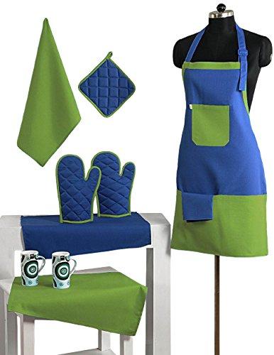 Grembiule Set di 2 colori cotone Chef con presina, guanti mezzi del forno & Tovaglioli - Perfect Home Cucina regalo o regalo Bridal Shower