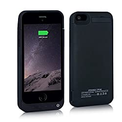 BSWHW Rechargeable Battery with Built-in Kickstand,For iPhone 5/5s/5c External Power Bank Case Backup Battery Charge Cover for iPhone 5/5s/5c Battery Charger (Black)