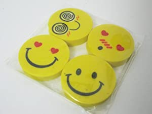 Smiley Erasers Pack of 4 rubbers party bag filler