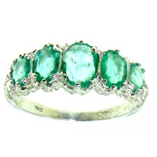 buy Luxury Ladies Victorian Style Solid Hallmarked Sterling Silver Genuine Emerald Band Ring - Size 8 - Finger Sizes 5 To 12 Available - Suitable As An Eternity Ring, Engagement Ring, Promise Ring, Anniversary Ring Or Wedding Ring