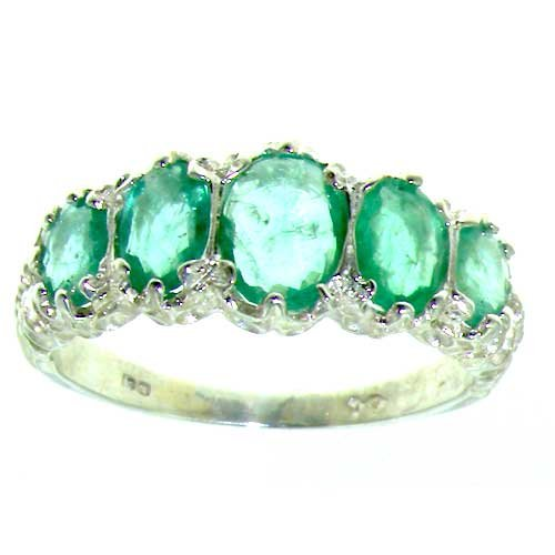 Luxury Ladies Victorian Style Solid Hallmarked Sterling Silver Genuine Emerald Ring – Finger Sizes 5 to 12 Available