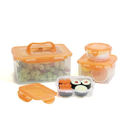 Lock&Lock 8-Piece Lunch Box, 4 Containers, Orange Lid