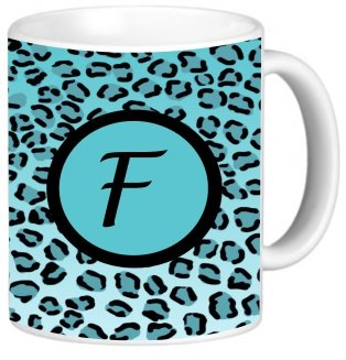"""Rikki Knighttm Letter """"F"""" Initial Sky Blue Leopard Print Monogrammed Design 11 Oz Photo Quality Ceramic Coffee Mug Cup - Fda Approved - Dishwasher And Microwave Safe"""